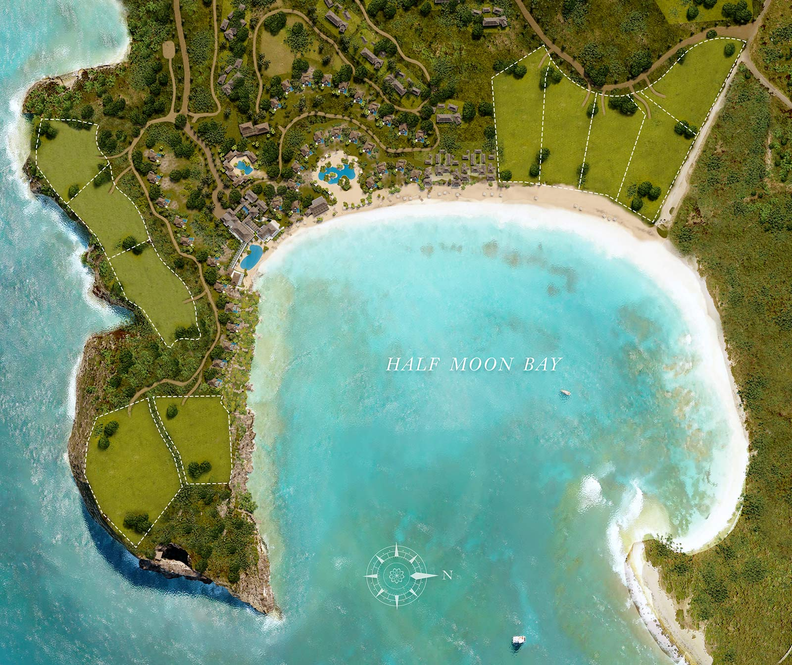 half moon bay antigua map